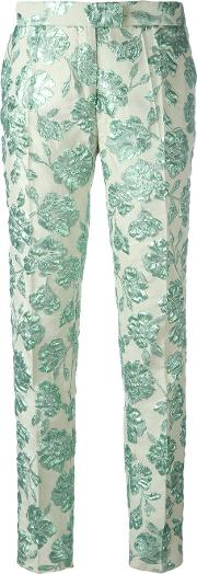 Cigarette Trousers Women Cottonpolyamidepolyesteracetate 42, Women's, Green