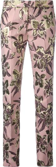 Cigarette Trousers Women Cottonpolyesteracetate 44, Pinkpurple