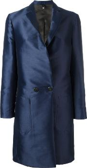 Double Breasted Coat Women Polyesterviscose 42, Blue