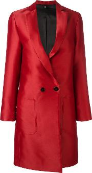 Double Breasted Coat Women Polyesterviscose 44, Red