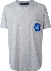 Floral Embroidered T Shirt Men Cotton M, Grey