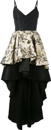 Floral Jacquard High Low Ruffle Dress Women Cottonpolyesteracetate 42, Women's, Black