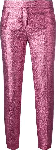 Glittery Tailored Trousers Women Cottonpolyesteracetate 38, Women's, Pinkpurple