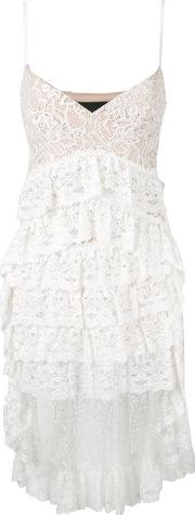 High Low Layered Lace Dress Women Polyamideviscose 40, Women's, White