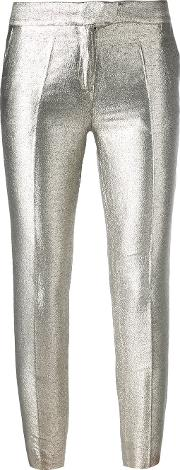 Metallic Grey Tailored Trousers Women Cottonpolyesteracetate 44