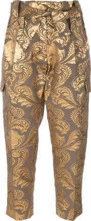 Metallic Jacquard Trousers Women Silkpolyester
