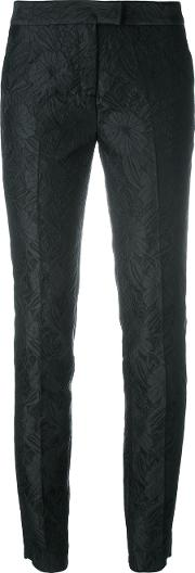 Tapered Jacquard Trousers Women Silkcottonpolyamideviscose 42, Black