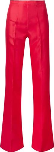 Flared Trousers Women Silk 8, Red