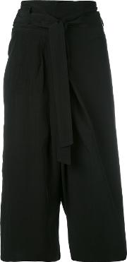 Cropped Flared Trousers Women Linenflaxviscose 38, Black