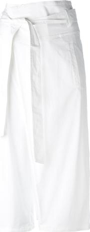 Cropped Trousers Women Cottonelastodiene 42, White