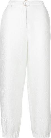 Cropped Trousers Women Polyester 36, White