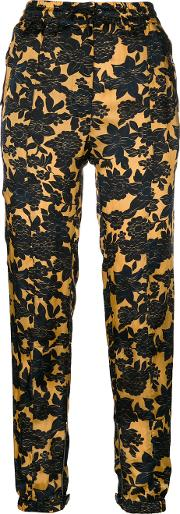 Floral Print Trousers Women Cuproviscose 40, Yelloworange