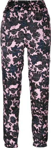 Floral Print Trousers Women Cuproviscose 42, Pinkpurple