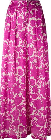 Floral Print Wide Leg Trousers Women Silk 40, Pinkpurple