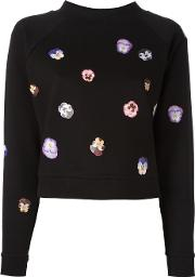 Flower Panel Sweatshirt Women Cottonviscose M, Black