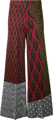 Patterned Flared Trousers Women Polyesterviscose 40, Black