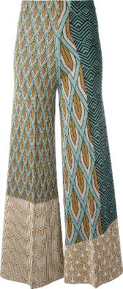 Printed Panel Palazzo Pants Women Polyesterviscose 42, Green