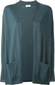 Open Front Cardigan Women Wool L, Green