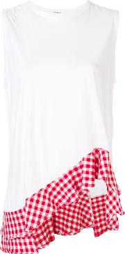 Asymmetric Gingham Border Blouse