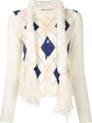 Comme Des Garcons Argyle Knitted Sweater Women Acrylicnylonwool M, White, Vintage