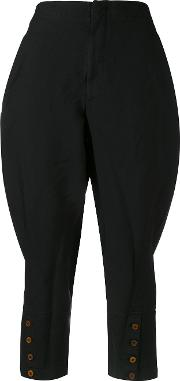 Cropped Trousers Women Polyester S, Black