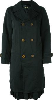 Double Breasted Coat Women Polyester L, Black