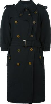Double Breasted Coat Women Polyester M, Black