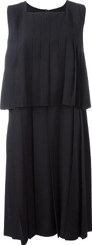 Layered Pleated Dress Women Cuprowool M, Blue