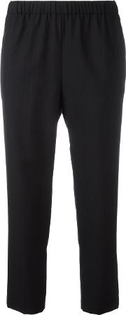 Pinstriped Cropped Trousers Women Wool M, Blue