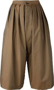 Pleated Cropped Trousers Women Polyester M, Women's, Brown