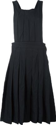 Pleated Overall Dress Women Polyester Xs, Black