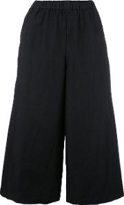 Wide Legged Cropped Trousers Women Polyester S, Women's, Black