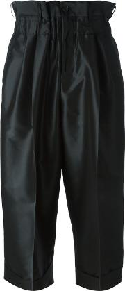 Cropped Pleated Trousers Women Silkpolyester S, Black