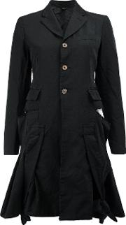 Flared Buttoned Jacket Women Polyester L, Black