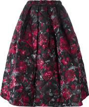 Floral Print Full Skirt Women Silkpolyester S, Black