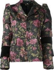 Flowers Jacquard Jacket Women Cottonpolyestercupro S, Women's, Black