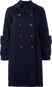 Layered Cuff Coat Women Polyester Xs, Blue
