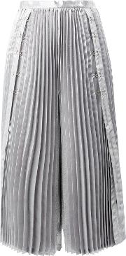 Cropped Pleated Trousers Women Polyestercupro S, Grey