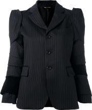 Panelled Pinstriped Blazer Women Cottoncuprowool S