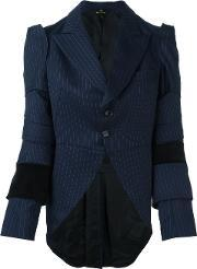 Pinstripe Long Tail Blazer Women Cottoncuprowool M