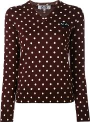 Comme Des Garcons Play Dotted V Neck Jumper Women Wool M, Pinkpurple