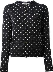 Comme Des Garcons Play Embroidered Heart Polka Dot Cardigan Women Wool M, Blue