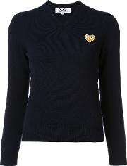 Comme Des Garcons Play Heart V Neck Jumper Women Wool M, Blue