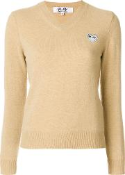 Comme Des Garcons Play V Neck Jumper Women Wool S, Nudeneutrals