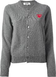 Embroidered Heart Cardigan Women Wool S, Grey