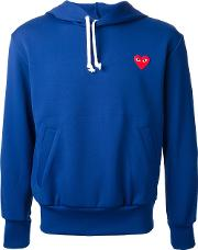 Embroidered Heart Hoodie Men Polyester L, Blue