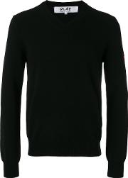 Embroidered Heart Patch Sweatshirt Men Wool M, Black