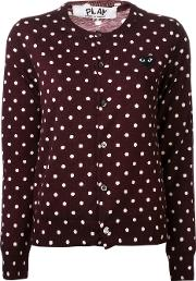 Embroidered Heart Polka Dot Cardigan Women Wool Xs, Women's, Brown