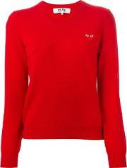 Embroidered Heart Sweater Women Wool M, Red