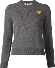 Embroidered Heart V Neck Jumper Women Wool S, Grey